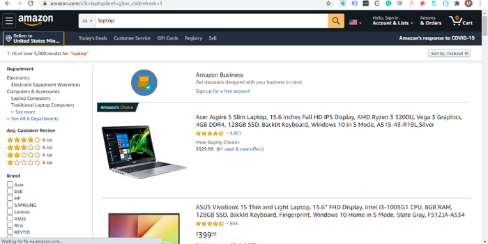 Amazon products are listed