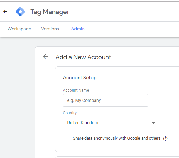 Google Tag Manager setup New Account