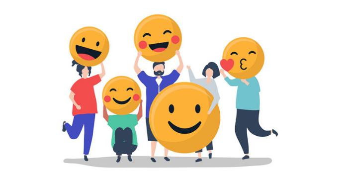 customers holding emojis