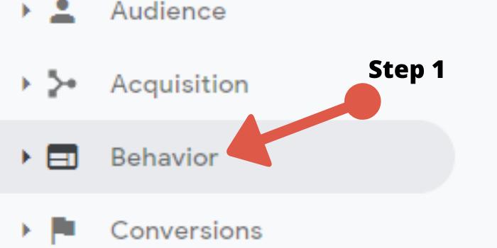Behavior Tab for tracking in Google Analytics