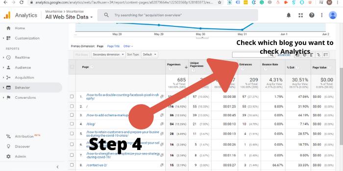 Search Bar arrow in Google Analytics(Step 4)