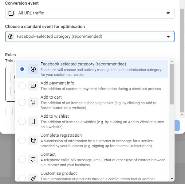 Facebook custom event types