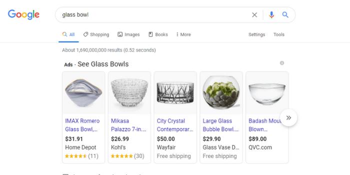 Google Shopping bowl