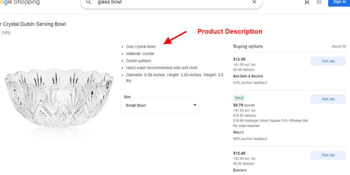 Google Shopping product Description
